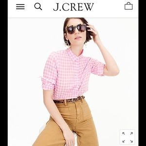 J. Crew classic boy checkered shirt in neon pink 6